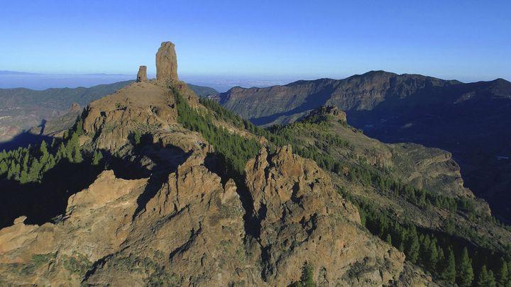 Le Roque Nublo, monolithe de basalte, sur les îles Grande Canarie en Espagne. (LEYLA VIDAL / BELGA MAG)