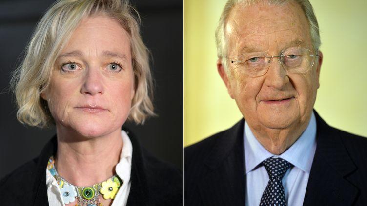 L'ex-roi des Belges Albert II (droite) a reconnu être le père de Delphine Boël, le 27 janvier 2020. (ERIC LALMAND / BELGA / AFP)