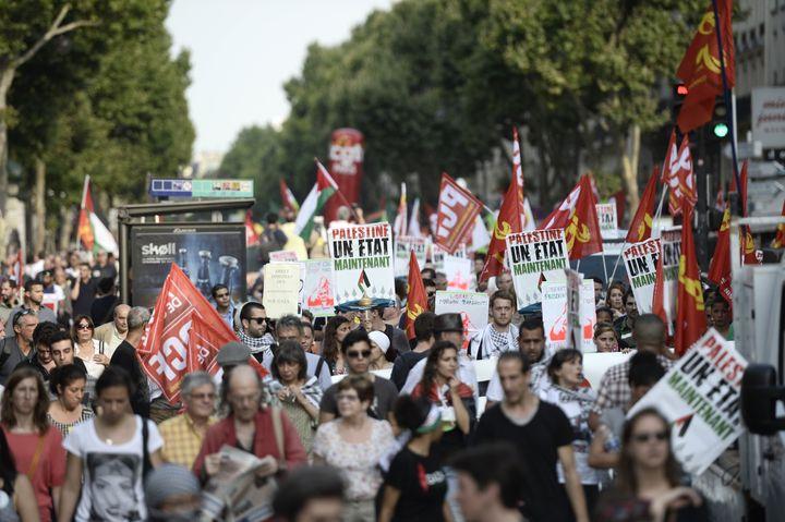 Manifestation pro-palestinienne à Paris, le 23 juillet 2014. (STEPHANE DE SAKUTIN / AFP)