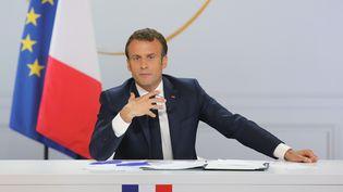Emmanuel Macron donne une conférence de presse depuis l'Elysée, à Paris, le 25 avril 2019. (LUDOVIC MARIN / AFP)