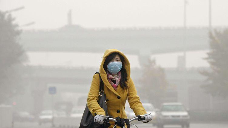 Une femme circule en vélo, protégée de la pollution par un masque, le 2 novembre 2013 à Pékin (Chine). ( NEWSCOM / SIPA )