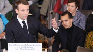 Emmanuel Macron à l'Académie française, à Paris, le 20 mars 2018. (LUDOVIC MARIN / AFP)