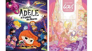 """Les couvertures des BD """"Mortelle Adèle et la galaxie des bizarres"""" (Bayard) et """"Lou! Sonata 1"""" (Glénat). (BAYARD - GLENAT)"""