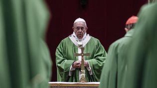 Le pape François, le 24 février 2019 au Vatican. (GIUSEPPE LAMI / POOL / AFP)