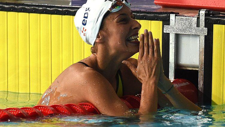 La nageuse Fantine Lesaffre, le 3 août 2018 à Glasgow (Ecosse). (OLI SCARFF / AFP)