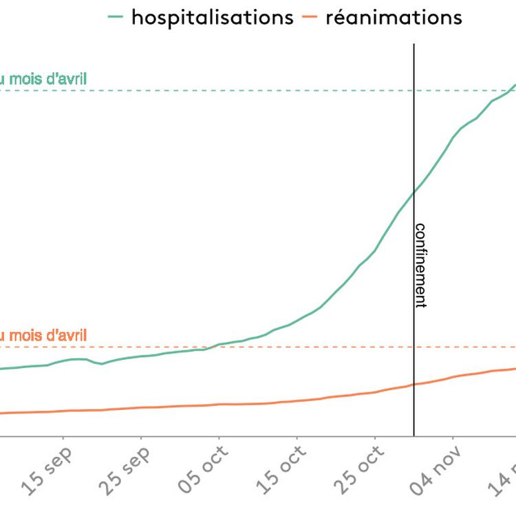 Graphique représentant l'évolution du nombre de patients Covid-19 hospitalisés. (FRANCEINFO)