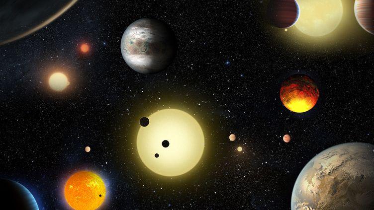 La représentation de planètes découvertes grâce au télescope Kepler, publiée par la Nasa, le 10 mai 2016. (NASA / REUTERS)