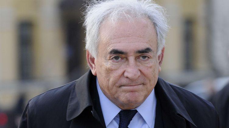 L'ancien patron du FMI, Dominique Strauss-Kahn, à Kiev (Ukraine), le 4 avril 2012. (SERGEI CHUZAKOV / AP / SIPA)