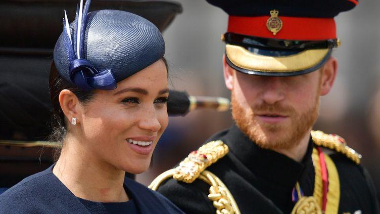 Meghan et Harry, à Londres, le 8 juin 2019. (DANIEL LEAL-OLIVAS / AFP)
