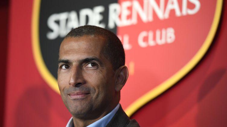 Sabri Lamouchi, lors de sa première conférence de presse en tant qu'entraîneur du Stade Rennais