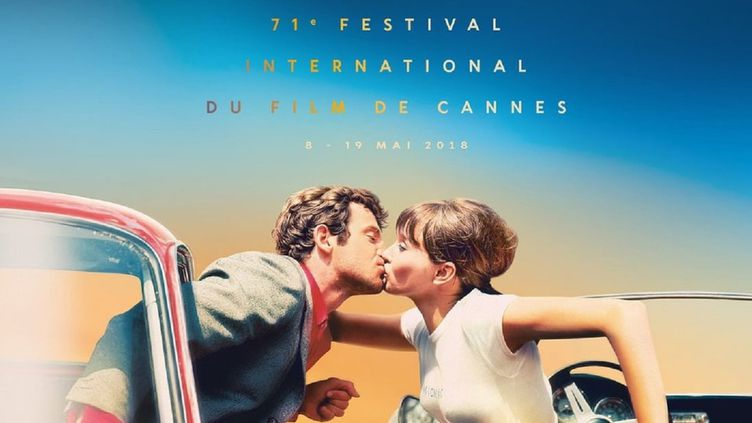 """Affiche officielle du festival 2018 : la aquette est de Flore Maquin, la photo d'origine (""""Pierrot le fou"""") de Georges Pierre.  (Festival de Cannes 2018)"""