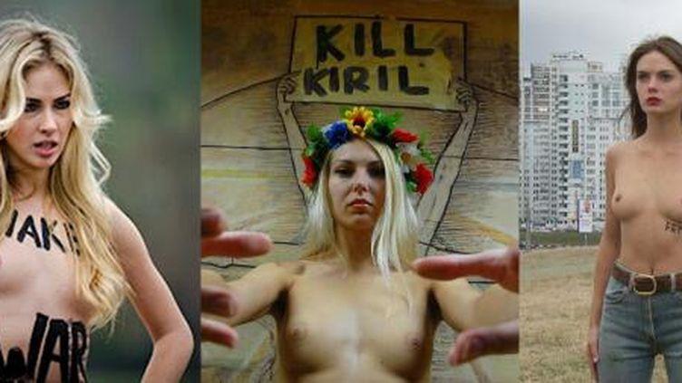 Montage montrant les trois militantes des Femen enlevées samedi 27 juillet à Kiev (Ukraine). (FEMEN FRANCE)