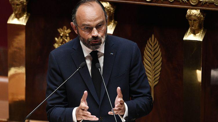 Édouard Philippeprésente le plan de déconfinement face à l'Assemblée nationale, le 28 avril 2020 (DAVID NIVIERE / POOL)