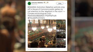 Capture d'écran d'un message publié sur Twitter par l'organisation Extinction Rebellion, le 1er avril 2019. (EXTINCTION REBELLION  / TWITTER)