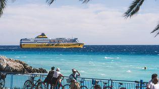 Un ferry pour la Corse, en aoput 2020. (FREDERIC DIDES / HANS LUCAS VIA AFP)