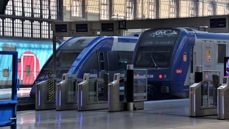 Deux trains patientent en gare Saint-Charles, à Marseille (Bouches-du-Rhône), le 28 juin 2018. (GERARD BOTTINO / CROWDSPARK / AFP)