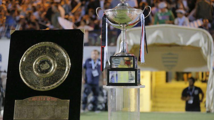 Le Bouclier de Brennus, trophée du Top 14 (championnat de France de rugby), entre le Racing 92 et le Stade toulousain, le 4 septembre 2016, à Colombes (Hauts-de-Seine). (STEPHANE ALLAMAN/DPPI)