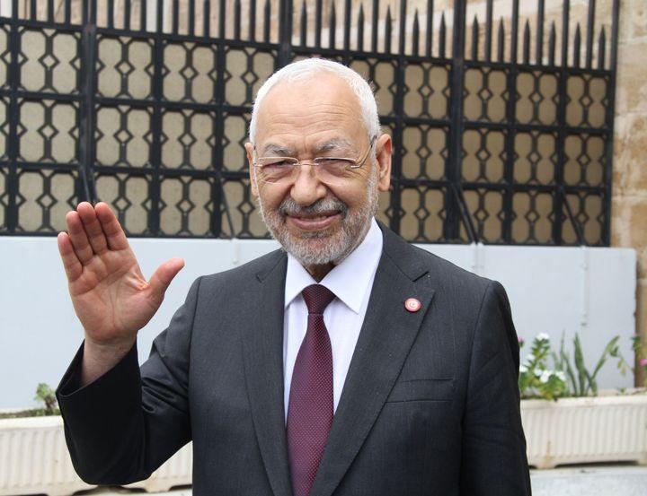Le leader d'Ennahdha, Rached Ghannouchi, à Tunis le 9 octobre 2018. (HAMMI MOHAMMED/SIPA)
