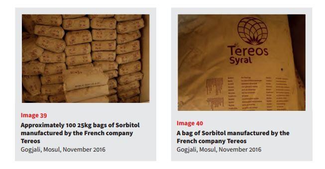 Le CAR a obtenu plusieurs documents attestant la présence de sucre français dans des dépôts de munitions du groupe Etat islamique. L'agence avait publié un rapport en décembre 2016 avec ces photographies. (CONFLICT ARMAMENT RESEARCH)