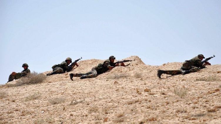 Les soldats syriens durant des combats contre l'Etat islamique dans le nord-est de Palmyre, le 17 mai 2015. (STR / AFP)