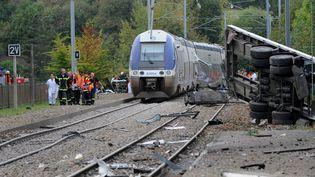 Le 12 octobre 2011, une collision, entre un camion et un train, s'était produite à un passage à niveau de Saint-Médard-sur-Ille sur la ligne entre Rennes et Saint-Malo (Ille-et-Vilaine) (MAXPPP)
