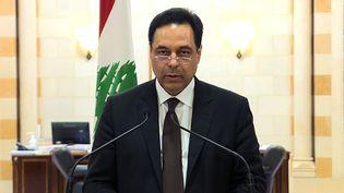 Le Premier ministre libanais,Hassan Diab, annonce la démission de son gouvernement lors d'une allocution télévisée, le 10 août 2020. (AFP)