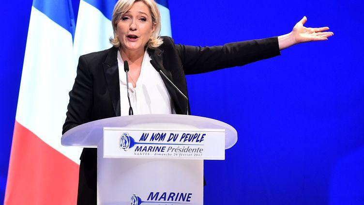 La candidate du Front national, Marine Le Pen, en meeting à Saint-Herblain (Loire-Atlantique), le 26 février 2017. (JEAN-FRANCOIS MONIER / AFP)