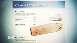 """C'est l'une des ruses des agences de pompes funèbres : ne pas proposer le cercueil """"économique"""" (PIÈCES A CONVICTION / FRANCE 3)"""