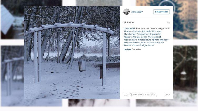 """Une photo des premières neiges prise en Lorraineetpubliée sur le réseau social Instagram par """"chrisota57"""", le 15 janvier 2016. (CHRISOTA57)"""