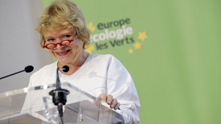 """La candidate écologiste Eva Joly, devant """"l'agora"""" d'Europe Ecologie-Les Verts, le 17 décembre 2011 à Paris. (MIGUEL MEDINA / AFP PHOTO)"""