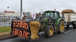 Des agriculteurs manifestent à Poitiers (Vienne) le 5 février 2016. (CITIZENSIDE / FABRICE RESTIER / AFP)