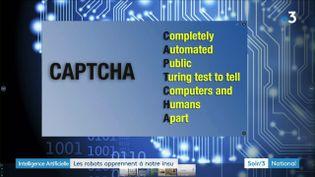 Un captcha est un test pour faire la différence entre un robot et un humainafin d'accéder à certaines pages sur le web.  (France 3)