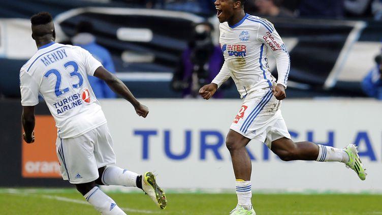 L'attaquant de l'OM Michy Batshuayi célèbre son but contre Lille (2-1), le 21 décembre 2014 au Vélodrome, à Marseille (Bouches-du-Rhône). (JEAN-PAUL PELISSIER / REUTERS)