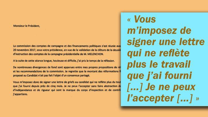 Extrait de la lettre de démission de Jean-Guy de Chalvron. (RADIO FRANCE)