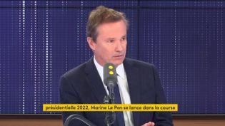 """Nicolas Dupont-Aignan était l'invité du """"8h30 franceinfo"""" le vendredi 17 janvier 2020. (FRANCEINFO / RADIOFRANCE)"""