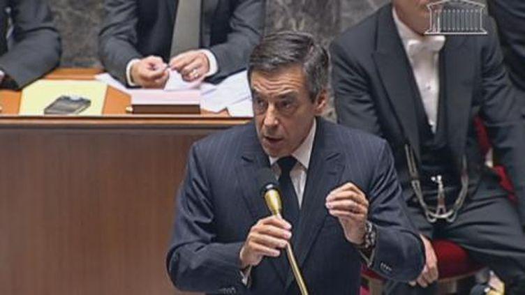 François Fillon, cet après-midi à l'Assemblée nationale. (FTV)