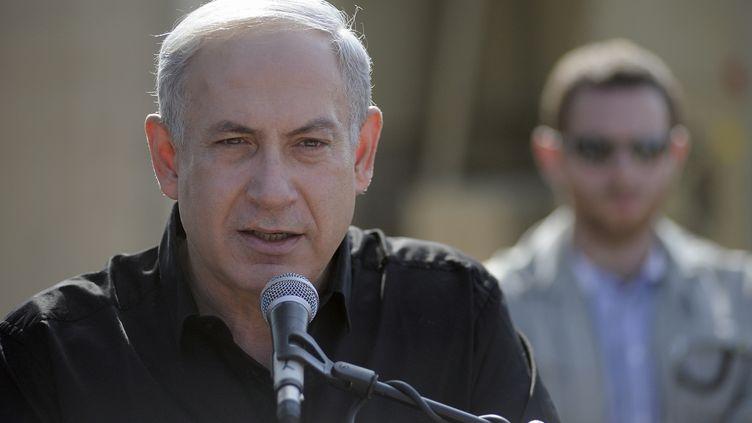Benyamin Netanyahu, à Nitzanim (Israël), le 24 octobre 2012. (DAVID BUIMOVITCH / AFP)