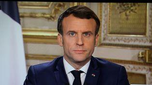 Le président Emmanuel Macron lors de son allocution le 13 mars 2020. (LUDOVIC MARIN / AFP)