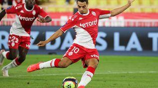 Le capitaine monégasque,Wissam Ben Yedder, a inscrit deux buts lors du match de Ligue 1 face à l'ASSE, le 22 septembre 2021. (VALERY HACHE / AFP)