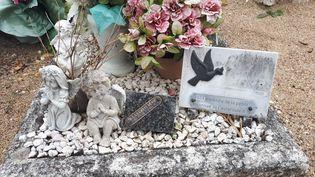 """La tombe de la petite Inass, surnommée la """"petite martyre de l'A10"""", à Suèvres (Loir-et-Cher). (FARIDA NOUAR / RADIO FRANCE)"""