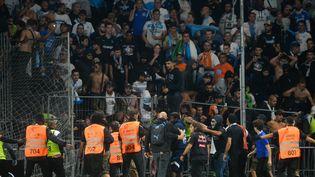 Des supporters marseillais ont envahi le terrain lors du match Angers - OM pour aller en découdre avec des supporters angevins, mercredi 22 septembre. (JEAN-FRANCOIS MONIER / AFP)