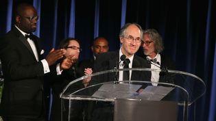 Le rédacteur en chef de Charlie Hebdo, Gérard Biard, au gala de l'association PEN, à New York, le 5 mai 2015. (JEMAL COUNTESS / AFP)