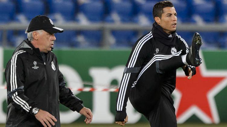L'entraîneur du Real Madrid, Carlo Ancelotti, et son joueur Cristiano Ronaldo