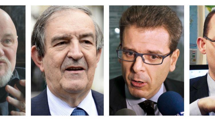 De gauche à droite : Claude Moniquet, Jean-Louis Bruguière, Thibault de Montbrial et Mathieu Guidère. (AFP / SIPA / FRANCETV INFO)