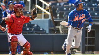 Les Washington Nationals face aux New York Mets durant un match de pré-saison, le 21 mars 2021.  (ERIC ESPADA / GETTY IMAGES NORTH AMERICA)