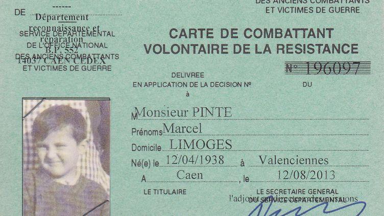 Marcel Pinte aobtenusymboliquement le titre de combattant volontaire de la Résistance en 2013. (- / FAMILY HANDOUT)
