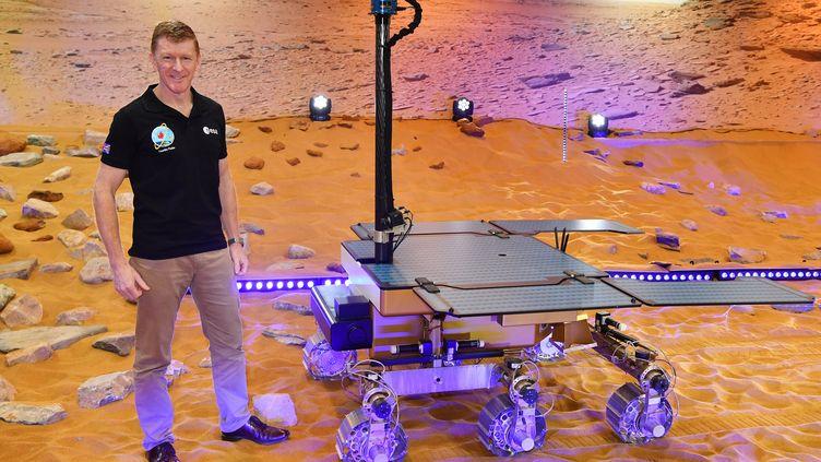 Un prototype du robot Rosalind Franklin destiné à explorer Mars, lors d'une présentation à Stevenage (Royaume-Uni), le 7 février 2019. (BEN STANSALL / AFP)
