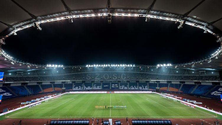 Vue aérienne de la cérémonie d'ouverture, lors de la Chinese Super League, à Suzhou, dans la province du Jiangsu (est de la Chine), le 25 juillet 2020.  (STAFF)