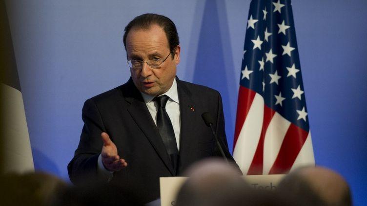 François Hollande, mercredi 12 février 2014,à San Francisco (Californie). (ALAIN JOCARD / AFP)