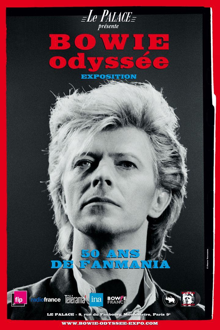 """L'affiche de l'exposition """"Bowie Odyssée"""" au Palace (Paris, 2021). (EXPO """"BOWIE ODYSSEE"""" / INA)"""